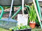 Einige Gartengeräte